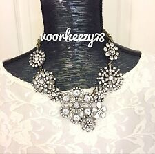 Crystal Lattice Garden Floral Statement necklace US SELLER