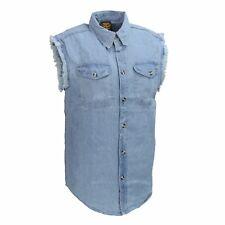 Milwaukee Leather Men's Blue Lightweight Sleeveless Denim Shirt **DM1001