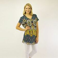 Polyester Career Short Sleeve Tunic Tops & Blouses for Women