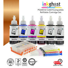 Refillable Cartridges suits Canon MG6360 IP8760 PGI650 CLI651 + Pigment PGBK Ink