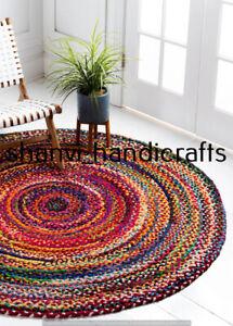 Indian Braided Rug Cotton  Round Floor 6 Feet Rug Floor Area Yoga Mat Rag Rugs