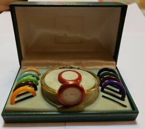 GUCCI Change bezel 11/12 White Dial Quartz Ladies Watch original box parts