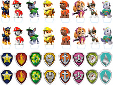 Paw Patrol Character & Shield Badge Edible Rice Paper Birthday Cupcake Toppers