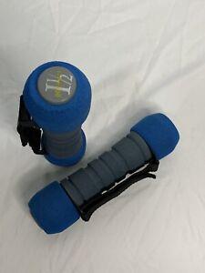 Go Walking 1 1/2 Lb Blue Walking Hand Weights Adjustable Hook & Loop Strap EUC
