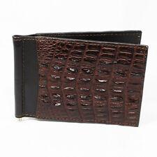 New Brown Genuine Leather Crocodile Alligator Back Skin Men Money Clip Wallet.