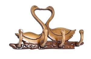 Brass Kissing Swan Pair Key Holder Statue Wall Decor Sculpture