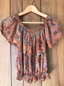 Absolutely Gorgeous Vintage Boho Hippy Peasant Top Batik Print Size Small