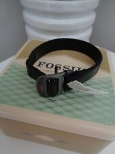 BNWT Fossil Black Men's Leather Cuff Bracelet with Gift Tin