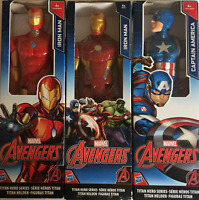 "Marvel Avengers Titan Hero Series Iron Man, Captain America 12"" Action Figures"