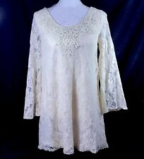 Flying Tomato Lace Tunic Top Dress Size S Small Ivory Cream