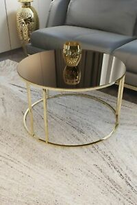 Center Table Hourglass Coffee Tables Big Coffee Table Gold Leg Bronze Mirror 1Pc