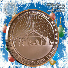 """Christmas Nativity III"" Design 1oz .999 Copper round with Snowflake Back"