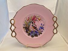 Antique KPM Germany Porcelain Serving Plate Birds Pierced Handles Gold Accent