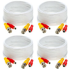 4 x 30ft Security Camera Cable CCTV Video Power Wire BNC RCA White Cord DVR