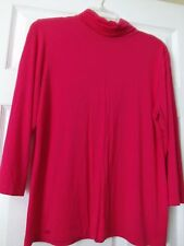 IMAN, turtle neck top, size L, Hot pink shade, Real soft, Rayon-spandex blend