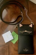 NWT Kate Spade Black Cat Leather North South Phone Wallet Crossbody Bag