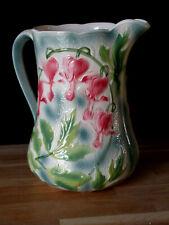 Pichet carafe barbotine SAINT CLEMENT décor floral ART NOUVEAU