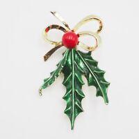Vintage Gold Tone Enamel Holly Berry Fashion Brooch Pin 2.75 Inch