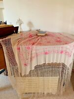 Antique  embroidered silk piano shawl with long fringe