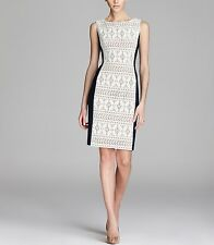 *NEW* Anne Klein $129 Navy Off White Contrast Paneled Lace Crochet Dress. 10 NWT