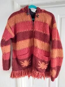 Boho Hippie Nepal Wool Chunky Fringed Cardigan Jacket Size M