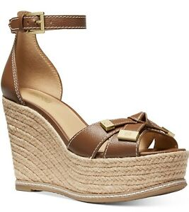 NIB Size 5 Michael Kors Ripley Leather Espadrille Wedge Sandal Luggage Tan Brown