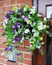 Artificial Wall Box Morning Glory Flowers Ivy Leaf Fern Foliage Plant PURPLE WHI