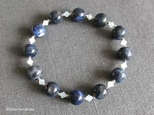 Dark Blue Sodalite Beads & Opal Crystals Stretch Bracelet With Sterling Silver
