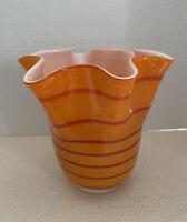 "Vintage Murano Style Orange Striped Handkerchief Art Glass Vase Hand Blown 7"""