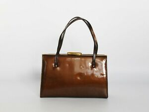 Vintage real leather classic 1950s handbag,classic Kelly purse, Made in England