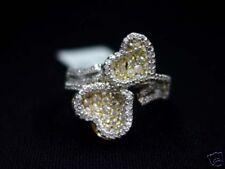 14K WHITE GOLD WOMENS HEART DIAMOND RING ROUND CUT PAVE
