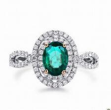 Natural Green Emerald Engagement Wedding Diamonds Ring Solid 14K Multi-Tone Gold