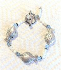 Fish Charm Bracelet Silver Pearl Blue Glass Bead Toggle Fashion Jewelry