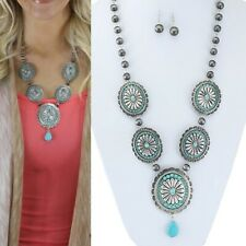 """Western Silver-Tone Faux Turquoise Concho Necklace Set 32"""""""