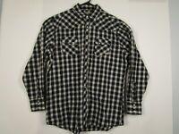 Mens Wrangler XLT Gray Plaid Long Sleeve Pearl Snap Western Cowboy Shirt