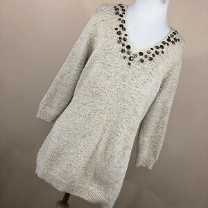 Carole Little 2X Sweater Tan Beige V Neck Embellished Stretch Ribbon Knit R3