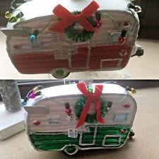 Vidrio Cristal Bolas Novedad Navidad Retro caravana/remolque + Corona Rojo o Verde