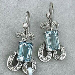 Art Deco 18K White Gold Diamond Aquamarine Aqua Vintage Scrolls Dangle Earrings
