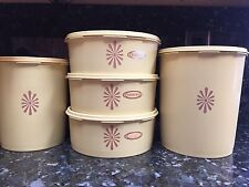 Vintage Tupperware 10 pc Yellow Canister Set Nesting Stacking w Lids
