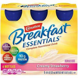 Nestle Carnation Breakfast Essentials Nutritional Drink Creamy Strawberry 6 Ct