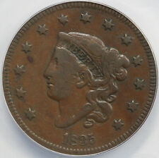 1835 1c N-12 Coronet or Matron Head Large Cent Anacs F 15