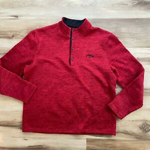 CALLAWAY Mens Large 1/4 Snap T Button Fleece Pullover Heathered Red