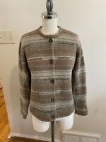 Woolrich Women's Sweater Petite Medium 100% Lambs wool Earthtones