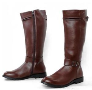 Mens Leather Motor Knee High Boots Ridding Shoes Casual Military Boots Punk New