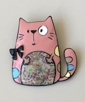 Adorable  artistic  Cat bow large Pin Brooch in enamel on Metal