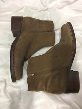 NICOLE ANKLE BOOTS HEELS Double SIDE ZIPPERS Suede WOMENS SIZE 11 Flat Brown