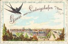 Ludwigshafen am Rhein, Panorama, Vogel Schwalbe, Litho-Ansichtskarte von 1901