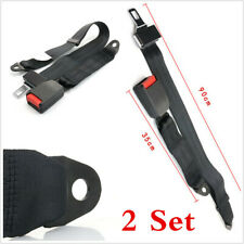 2 Set Black High Strengable 2 Point Auto Car Lap Adjustable Safety Seat Belt