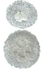 """7.5"""" Twn Perfect 1991 Signed Vintage Pewter Plates Set Pear Strawberry Fruit"""