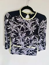 WHISTLES 100% SILK NAVY PURPLE & LIME ORCHID BLOUSE TOP 6 XS 34 2